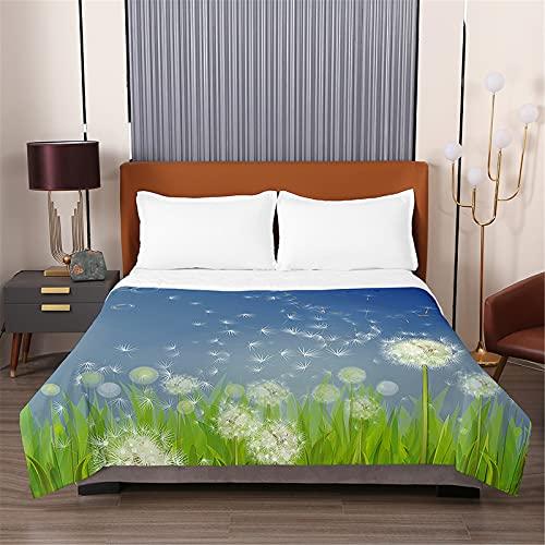 Oduo Vadderat sängöverkast mjukt mikrofiber lätt täcke täcke, dubbel kung maskros tryck quiltade täcken bäddsoffa sängöverdrag sängkläder för sovrum (drömmande natt, 230 x 280 cm)