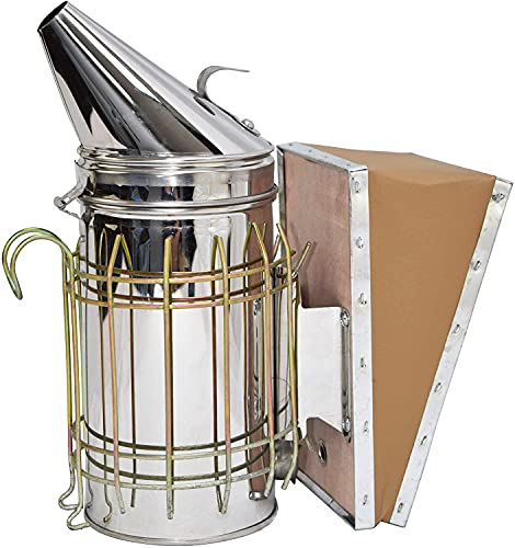 VIVO Stainless Steel Bee Hive Smoker with Heat Shield, Beekeeping Equipment BEE-V001