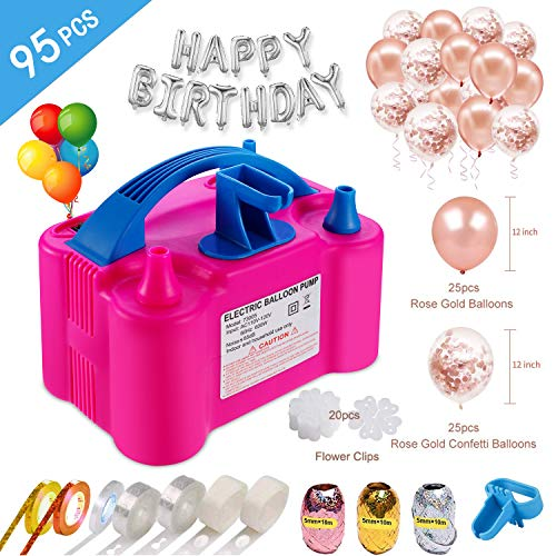 Electric Air Balloon Pump and Balloon Tying Tool In One,110V 600W Portable Dual Nozzles Electric Balloon Inflator with 50 PCS...
