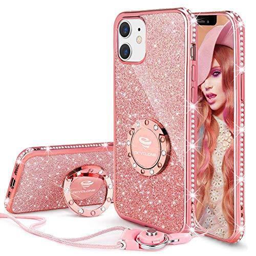 OCYCLONE Cover Glitter per iPhone 12 Mini 5,4', Custodia Protettiva con Anello e Cordino, TPU Brillantini Custodia Antiurto per Donna, iPhone 12 Mini Sparkle Bling Cover - Oro Rosa