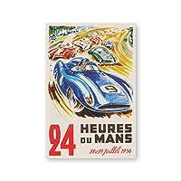 ヴィンテージ自動車レースポスター1956年スポーツ車レースフランス壁アートパネル絵画インテリア水彩キャンバス版画男の子部屋寝室装飾写真40x60cmいいえフレーム
