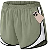 Fulbelle Womens Shorts for Summer,Teen Girls Cute Lounge Athletic Shorts with Pockets Hiking Running Workout Exercise Gym Yoga Volleyball Tennis Stretchy Active Wear Green White Large