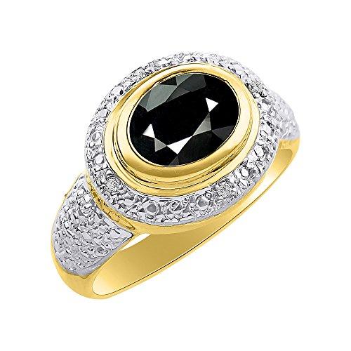 RYLOS Anillos para mujer de oro amarillo de 14 quilates, anillo de diamante y ónice, halo de diamante, piedra natal de 9 x 7 mm, joyería de piedras preciosas de color para mujer