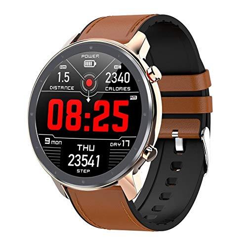 Reloj inteligente para hombre y mujer, ECG, monitor de frecuencia cardíaca, Full Round Touch Smart Watch IP68 Fitness Tracker pulsera (color oro rosa, tamaño: cinturón de acero)