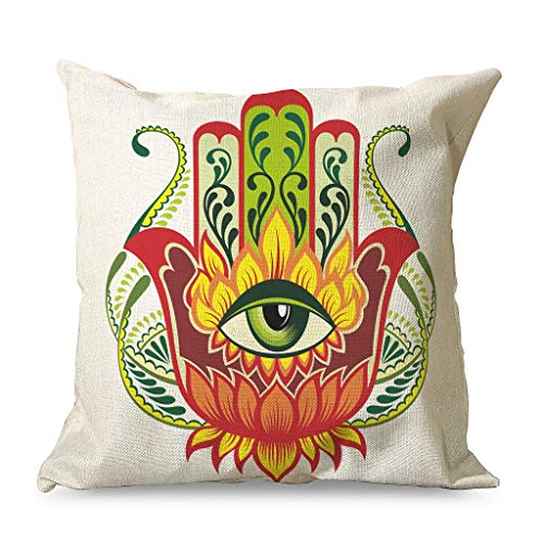 WellWellWell Hamsa Hand Pillowcase Printed Hypoallergenic Square Pillow Cover use in Chair Cushions for Farmhouse with Hidden Zipper white 45x45cm