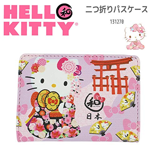 Sanrio Hello Kitty Bus Trein Card Pass Case Houder Kitty Japanse Kimono en Torii Roze 04