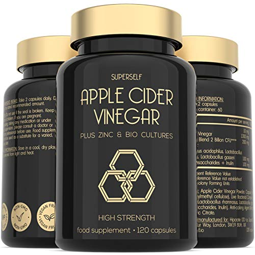 Apple Cider Vinegar Capsules with Mother - 1300mg High Strength - Enriched with Probiotics and Zinc...