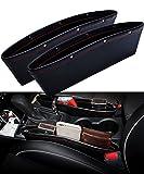 traderplus 2-Pack Car Seat Gap Organizer PU Leather Car Pocket Organizer Seat Console Gap Filler, Car Seat Side Drop Caddy Catcher - Black