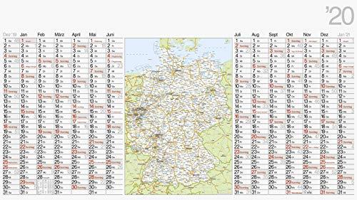rido/idé 7033680 Wandkalender/Plakatkalender mit Deutschland-Karte (1 Seite = 14 Monate, 1140 x 640 mm, Papier, Kalendarium 2020)