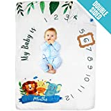 Pamperous Baby Monthly Milestone Blanket - 100% Organic Photo Backdrop and Prop, Extra Thick 60' X 40' Reversible Swaddle, Nursing Cover, Bed Blanket for Newborn Boys/Girls/Unisex