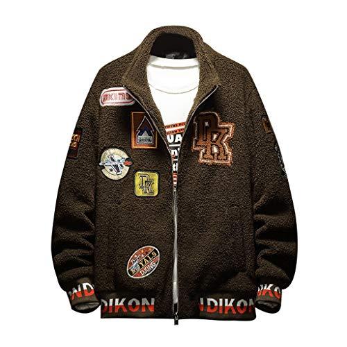 AmyGline Jacke Herren Mode Lässig Hiphop Flannel Jacke Zip Cardigan Cargo Jacke Streetwear Mantel Freizeitjacke Männer Jacken Übergangsjacke Sweatjacke