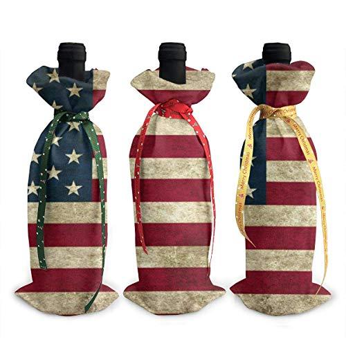 chengnan Cubierta de botella de vino de Navidad, 3 unidades, bandera americana para botellas de vino tinto bolsas para Navidad, Año Nuevo, boda, fiesta de degustación de vino