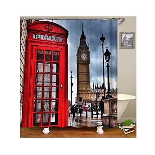 Beydodo Antischimmel Wasserdicht Duschvorhang 165x200 cm London Handyzelle Badvorhang Vintage