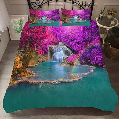 CGZLNL Microfiber Duvet Cover Set waterfall 78.7x78.7 inch Easy Care Anti Allergic Soft & Smooth Bedding Set +2 Pillow Cases 19.7 X 29.5 inch