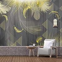 カスタム壁画壁紙モダンな3D幾何学的なゴールデンフェザーテレビ背景壁画リビングルーム写真壁紙家の装飾, 300cm×210cm