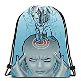 Ahdyr Kordelzug Rucksack Taschen Sport Cinch eine Frau, die ihren Kopf Augen geschlossen hält und mit pneumatischen Bohrer für die Schule Gym Arbeiten