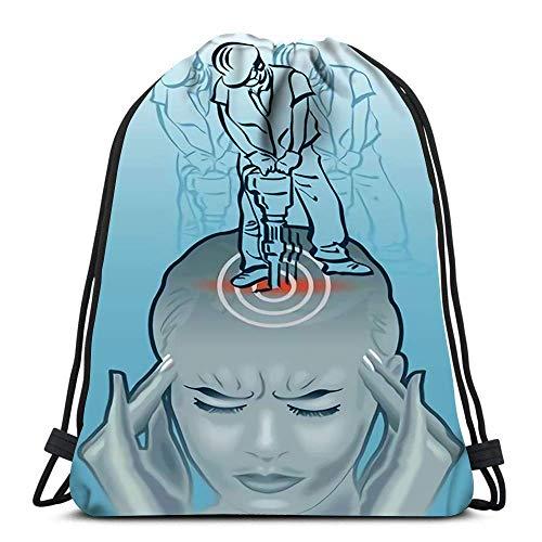 Kordelzug Rucksack Taschen Sport Cinch An der Frau hält ihren Kopf Augen geschlossen und arbeitet mit pneumatischen Bohrer für die Schule Gym