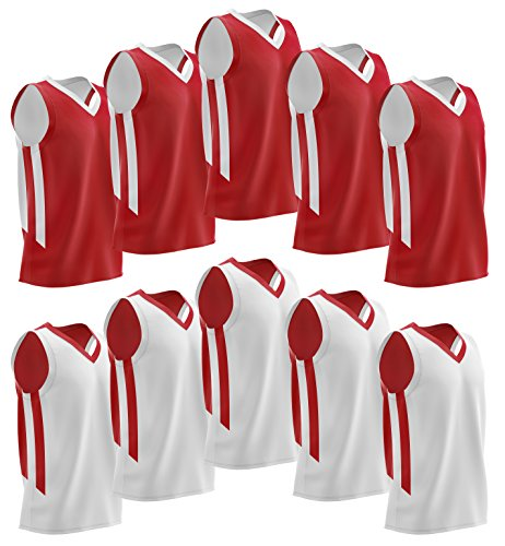 Liberty Imports 10 Pack - Reversible Men's Mesh Performance Athletic Basketball Jerseys - Adult Team Sports Bulk (Red/White)