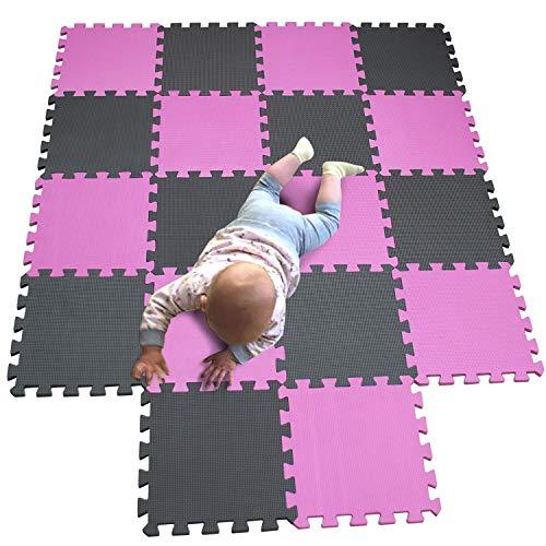 MQIAOHAM Esterilla Puzzle de Fitness-18 losas de EVA Espuma Alfombrilla Protección para el Suelo para máquinas de Deporte y gimnasios sobre el Piso Fácil de Limpiar Rosa Gris 103112