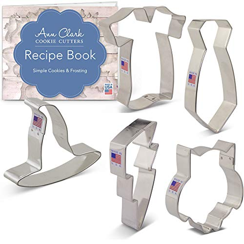 Ann Clark Cookie Cutters 5-Piece Witchcraft and Wizardry Cookie Cutter Set with Recipe Booklet, Owl, Lightning Bolt, Witch's Hat, Robe and Scarf
