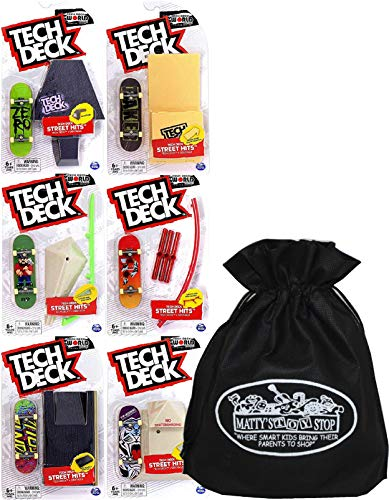 Tech Deck 96mm Fingerboards Street Hits (Obstacles) Complete Gift Set Bundle with Bonus Matty's Toy Stop Storage Bag - 6 Pack (Fingerboards Will Vary)