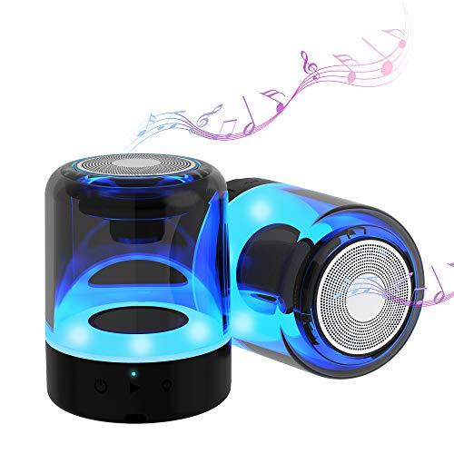 2 Bluetooth Lautsprecher kleine, tragbar Kristallglas Musikbox mit 4 Farben LED, Freisprechfunktion herausragendem,Sound Kabelloser Lautsprecher Bis zu 12 Stunden kabellos Musik abspielen