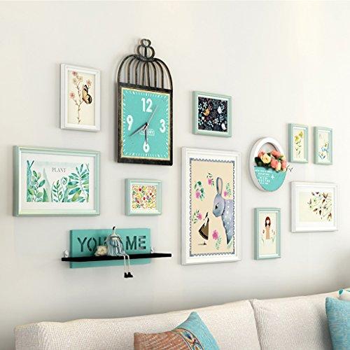 AILI Portfolio de Mur de Photo, Chambre à Coucher de Salon avec Le Cadre créatif d'horloge de Mur, Haut à Travers Le Miroir en Verre (Color : White+Blue)