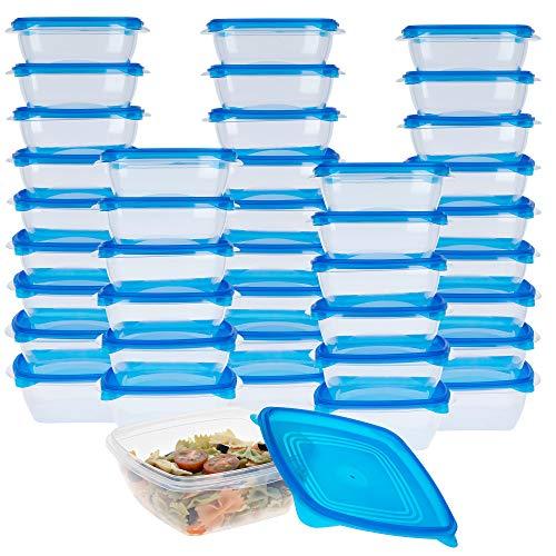 Aktive - Pack 40 Tapers para comida, tupers plastico, Apilables, Apto para microondas y lavavajillas, fiambrera cuadrada medidas 17,3x15,7x6,3 cm, tapa azul con cierre a presión, 800 ml