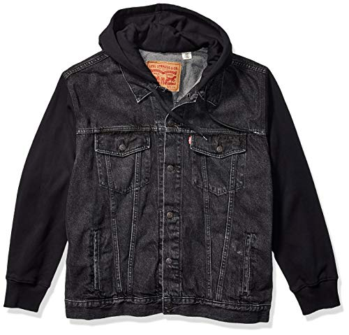 Levi's Men's Tall Big & Tall Hoodie Trucker Jacket-Big, Hood Up Black, 2XL