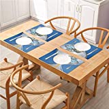 FloraGrantnan Reusable Non-Slip Table Mats Placemats, Clock Hourglass Time Clocks with Sand Pattern for Home A Vintage Design Print Blu, for Kitchen Dining Decoration, Set of 8