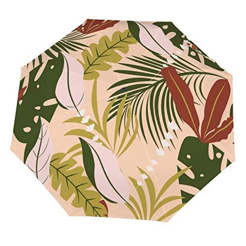 Paraguas de lluvia manual plegable, resistente al sol, diseño de plantas tropicales de verano, color marrón, ligero, plegable (interior de vinilo)