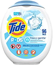 Tide PODS Free and Gentle, Laundry Detergent Soap PODS, HE, 96 Count - Unscented and Hypoallergenic for Sensitive Skin, Free and Clear of Dyes and Perfumes