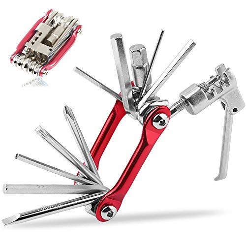 INTVN Bike Multi Tool 11 dans 1 Outils De Velo Multi-Outil Multifonctions Outil en Acier Inoxydable de Réparation de Vélo avec Outil de chaîne Pliable Portatif de Réparation