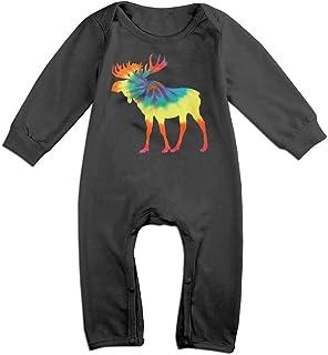 Moose in Flag of Canada Newborn Kids Short Sleeve Romper Jumpsuit Bodysuits 0-24 Months