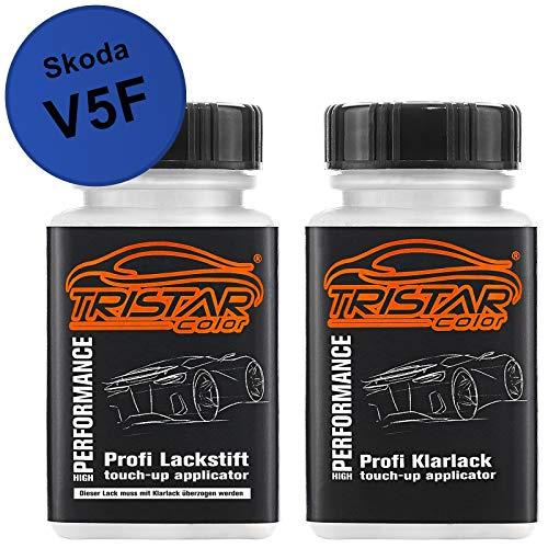 TRISTARcolor Autolack Lackstift Set für Skoda V5F Energy Blue Basislack Klarlack je 50ml