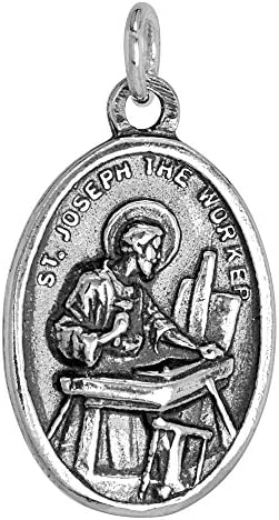 Sterling Silver St Joseph Medal Oval 1 inch product image