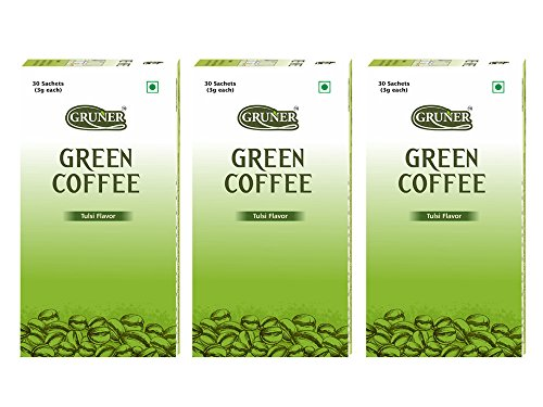 Gruner Tulsi Flavored Unroasted Green Coffee Powder for Weight Management – 30 Sachets ( Each Sachet 3 Gram) Pack of 3