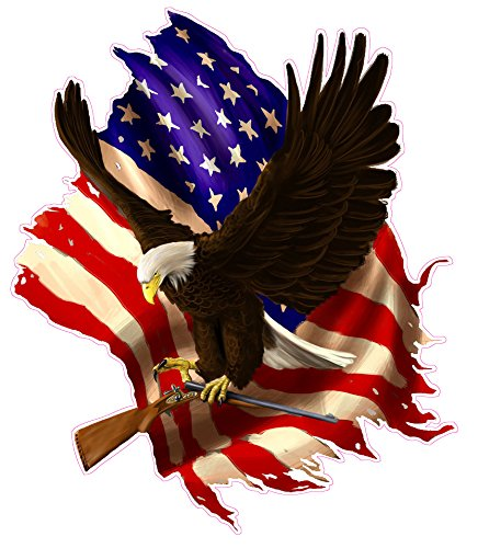 Baring Arms American Flag Eagle Decal 5'