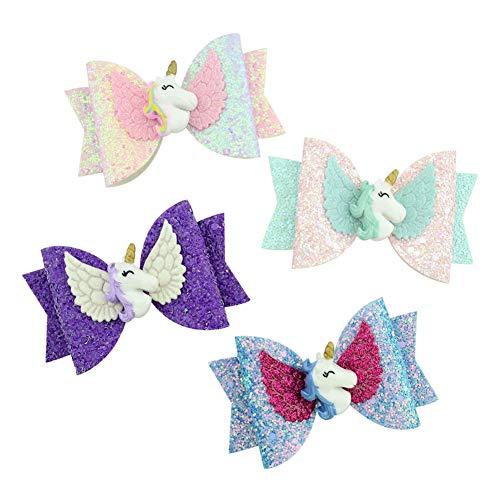 CNNIK 4 Piezas Brillo Brillante Lentejuelas Multicolor Clips de pelo Unicornio Arco...