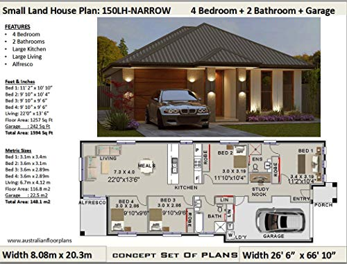 Amazon Com Small Lot Narrow Land House Plan 4 Bedroom 2 Bathroom Lock Up Garage Concept Plans Includes Detailed Floor Plan And Elevation Plans House Plans Ebook Morris Chris Designs Australian Kindle Store