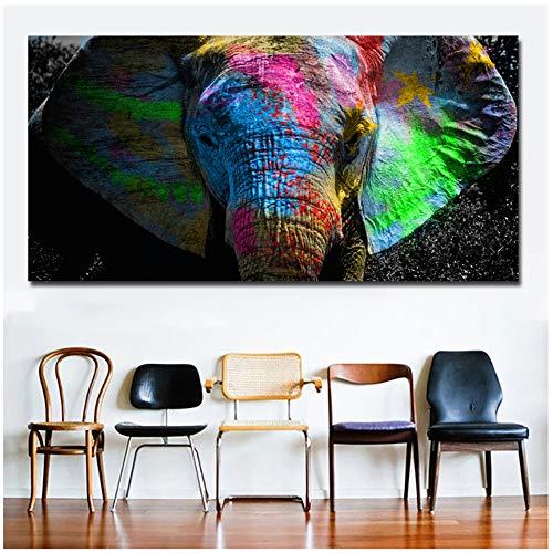 TYLPK Druck auf Leinwand Bunte afrikanische Elefanten Tierölgemälde Wandkunst Bilder für Wohnzimmer Schlafzimmer Wohnkultur 60x120cm (23,6x47.2 Zoll) Kein Rahmen