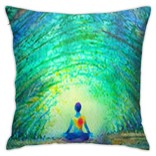 baoan Fundas de almohada de 45,7 x 45,7 cm, para sofá, cuadrado, funda de almohada decorativa para reiki, chakra, color humano, Lotus Pose