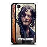 Head Case Designs Officially Licensed by AMC The Walking Dead Half Body Daryl Dixon Black Hybrid Glass Back Case Compatible with Apple iPhone XR
