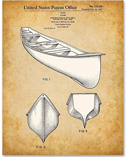 Canoe - 11x14 Unframed Patent Print - Makes a Great Gift Under $15 for Cabin/Lake Decor