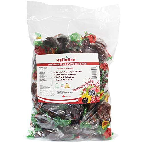 FruiToffee Lavashak Fruit Leather Candy Size Wrappers 100% Natural Real Fruit Snack, Vegan, Gluten Free Healthy Snack, Non GMO, Fruit Bites - 1.5lbs