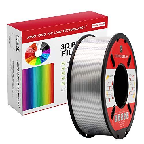 Filamento PLA para impresora 3D de 1,75 mm, filamento de impresión 3D PLA para impresora 3D y bolígrafo 3D, precisión dimensional +/- 0,02 mm, 1 kg 1 bobina(Plata Seda)