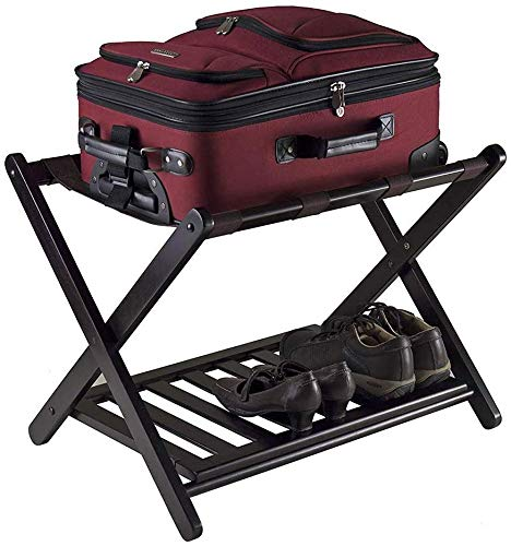 %22 OFF! QTQZDD Room Luggage Holder, Hotel Solid Wood Folding Luggage Rack, Luggage Rack with Shelf,...