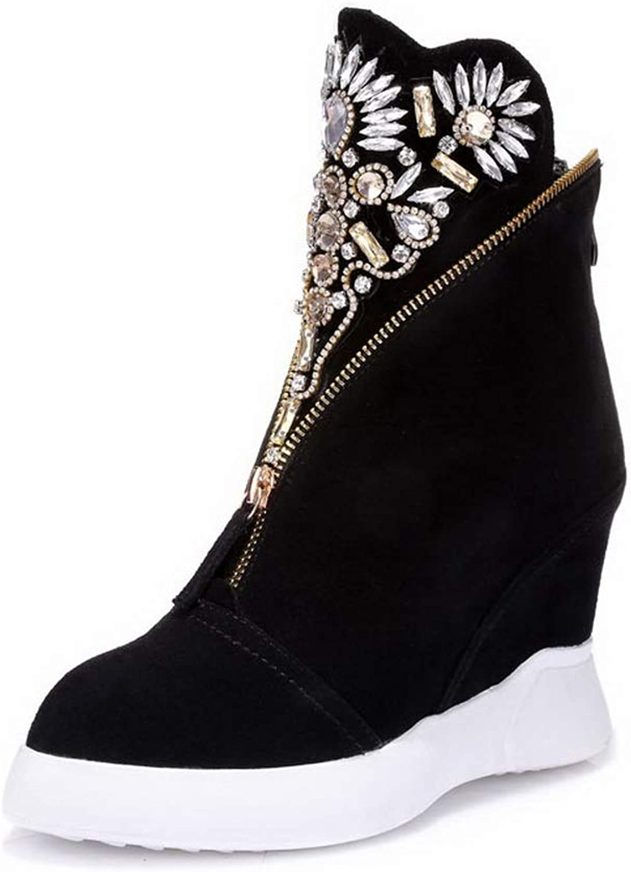 BalaMasa Womens Studded Nubuck Wedges Leather Boots ABM13659