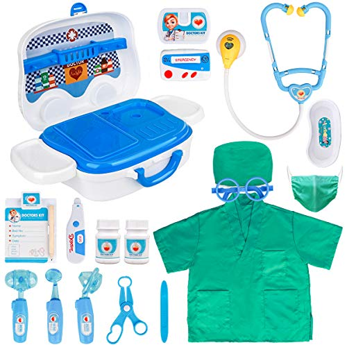 Meland Toy Doctor Kit for Kids - Pretend Play Doctor Set with Carrying Case, Electronic Stethoscope & Doctor Dress Up Costume - Doctor Set for Kids Toddlers Ages 3 4 5 6 Year Old for Role Play Gift