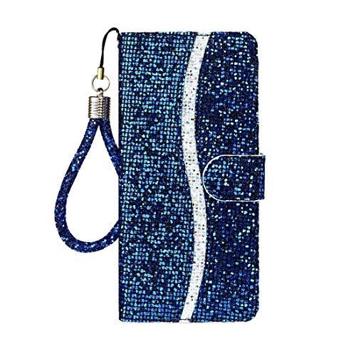 NANSHAN PHONETABLETCASE+ / for Huawei P40 Lite E Glitter Powder Horizontal Flip Funda de Cuero con Ranuras y Soporte Tarjeta y cordón Protección de la Cubierta de la Cubierta a Prueba (Color : Azul)